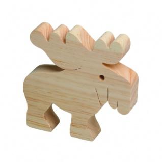 Holzfigure Elch - groß - Massivholz - 13 x 13 x 3 cm