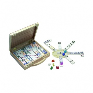 12er Domino Mexican Train im Holzkoffer