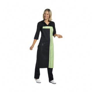 Latzschürze - 2 Taschen - schwarz-hellgrün - 100 cm
