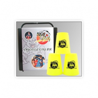 - FlashCups - 12 Stück - Neongelb mit Lunchbox+DVD