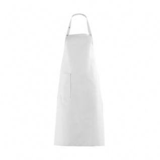 Latzschürze mit großer Tasche - weiß - 100 cm
