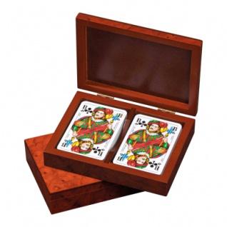 Romme-Karten - in Kartenbox - Designfurnieroptik Wurzelholz