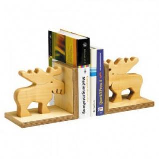 Bücherstütze aus geöltem Massivholz - Elch -