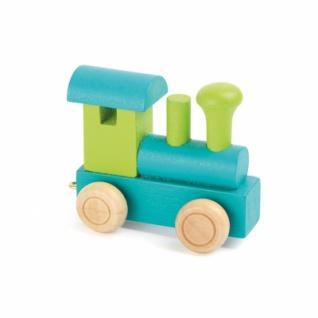 Buchstabenzug Lokomotive grün und petrol