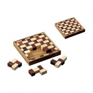 Wims Mat - Hevea- und Samena-Holz - 9 Puzzleteile - Knobelspiel - Geduldspiel