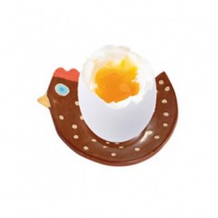Eierbecher Huhn - braun - Ton - handgedreht - 8 cm