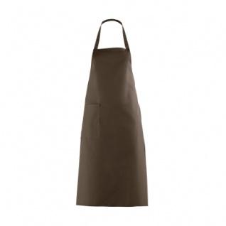 Latzschürze mit großer Tasche - braun - 100 cm