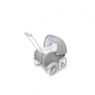 Puppenwagen - Korbgeflecht - grau