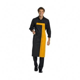 Latzschürze - 2 Taschen - schwarz-mango - 100 cm - Vorschau 1