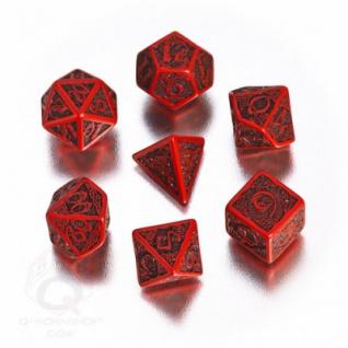 Celtic 3D Revised Würfel-Set - 7 Stück - rot und schwarz