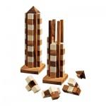 Wolkenkratzer - 11 Puzzleteile - Denkspiel - Knobelspiel - Geduldspiel