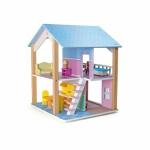 Puppenhaus Blaues Dach 2 Etagen - drehbar