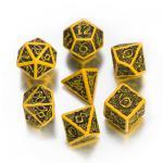 Celtic 3D Revised Würfel-Set - 7 Stück - gelb und schwarz