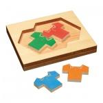 Polo-Shirt Puzzle - 4 Spielsteine - Denkspiel - Knobelspiel - Geduldspiel