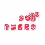 Casino-Würfel Set - 5 Stück - 19mm - rot