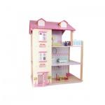 Puppenhaus Rosa Dach 3 Etagen - drehbar