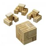 Slide-Cube - Bambus - 4 Puzzleteile - Denkspiel - Geduldspiel