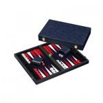 Backgammon blau - medium - Kunstleder