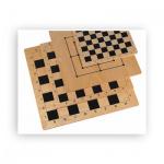 Schach und Mühlebrett - Birke - bedruckt - Feldgröße 41 mm