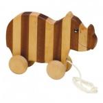 Streifentier - Holzfigur - Nashorn - 16 cm