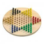 Halma Spiel - rund - Eschenholz - mit farbigen Spielsteinen
