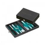 Tinos - klein - grün - Backgammon - magntisch - Kunstleder