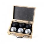 Boules silber-schwarz - 6 Kugeln mit Holzkoffer