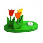 Holzblumen - Tulpen-Platte - handbemalt - integr Teelichthalter - 24 x 15 cm