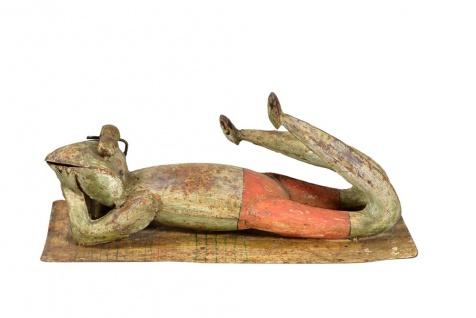 Indien lustige Metall Skulptur Frosch liegend antikrost Optik hübsche Dekoration