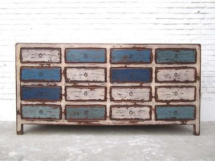China breite Kommode Sideboard shabby chic 16 Schubladen weiß blau Pinie