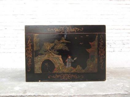 Truhe im antiken China Stil feinste goldene Zeichnungen auf schwarzem Lack von Luxury Park
