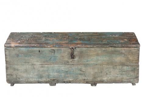 Indien 1920 schlanke alte Truhe Werkzeug Box aus grobem Holz blaue Farblasuren Rajasthan