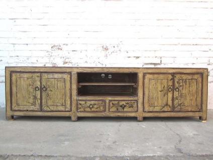 China große Fernseh Kommode Lowboard für Flachbildschirm antik Look vintage finish Holz