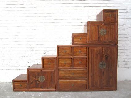 Asien Treppen Kommode Schrank honigbraun Vintage Stil Vollholz