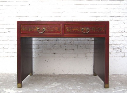 China kleiner Sekretär Tisch braun Lederfinish Vintage Holz