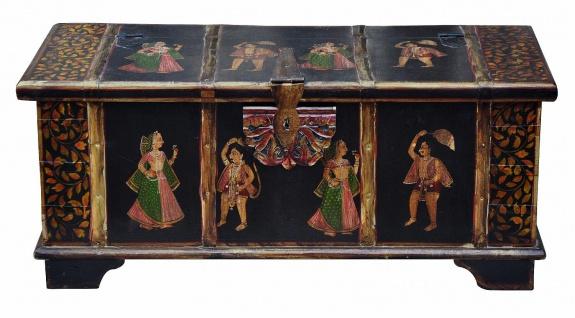 Indien antike Truhe Box hervorragende Bemalung in schwarz gold