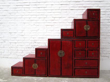 China Stufen Kommode Schrank rotbraun Antik Stil Pinie