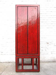 Asien halbhoher Schrank rotbraun Antik Stil Pinie