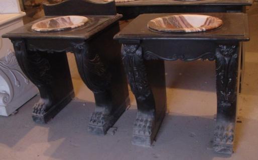 Zwei klassische Waschtische orientaler Stil schwarzer Marmor