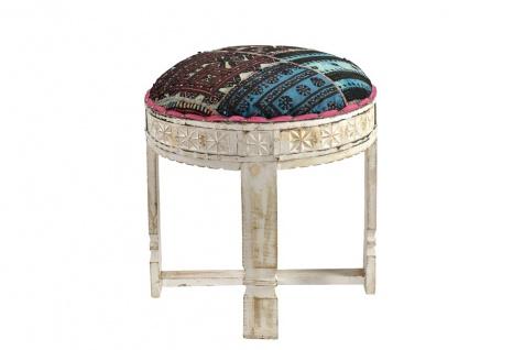 India Sitzhocker mit Polsterkissen runde Form Holz antikweiß Rajasthan Möbel