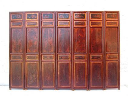 Asia Paravent Echtholz antik 198x5x140cm