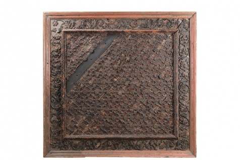 India geschnitztes Decken teil quadratisches Segment fein verziert Rajasthan um 1910