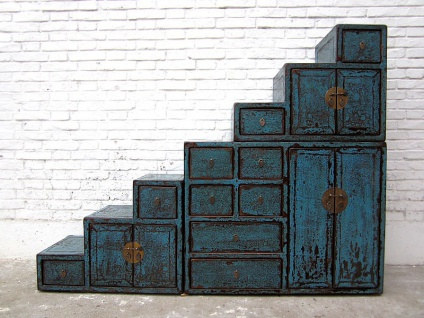 China große Treppen Kommode Schubladen Shabby chic blau bemalt