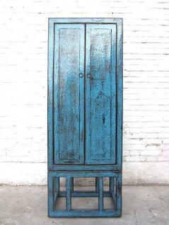 Asien halbhoher Schrank azurblau shabby chic Pinie