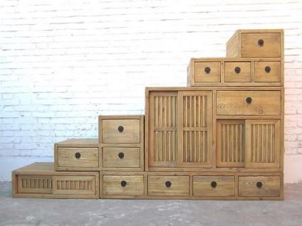 Asia extra breite Schubladen Treppen Kommode gestuft hellbraun Landhausstil