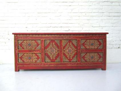 China breite flache Kommode Sideboard 4 Schubladen rotes Pinienholz tolle Bemalung von Luxury-Park