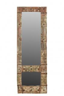 India Gujarat schmaler mannshoher Spiegel Holzrahmen hübsche Optik Dekor