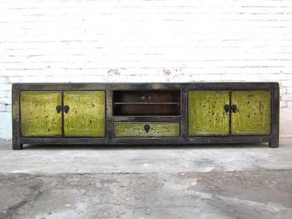 China breites Lowboard Kommode antikgrün shabby chic Pinie