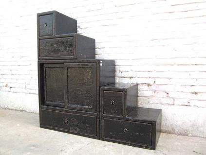 Asien kleine Treppen Kommode Schubladen Kolonial Stil schwarz Lack