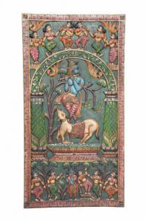 INDIA Holzwand Panel auf dem Krishna Bansuri spielt geschnitzt